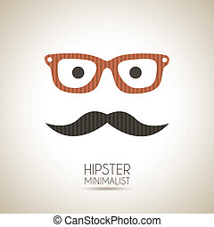 hipster minimalist over vintage background vector...