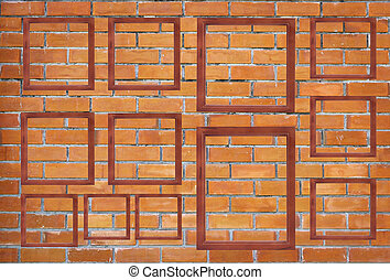 Blank wooden frame on brick wall background