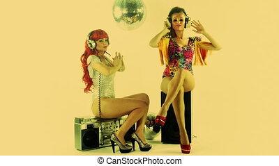 beautiful professional gogo dancing sisters, Anda and...