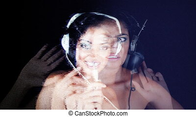 interesting shot of changing retro headphones on a woman's...
