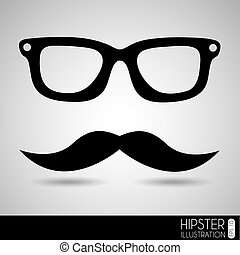 glasses and mustache over gray background vector...