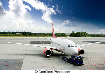 Airplane on Tarmac - An airplane at the airport on the...