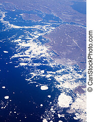 Glacier Melt - An aerial view of a melting glacier in the...