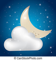 clouded moon over starry sky background vectror illustration
