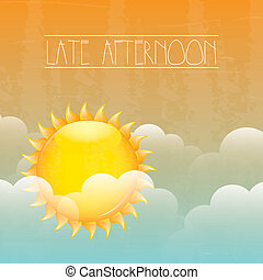late afternoon over sky background vector illustration