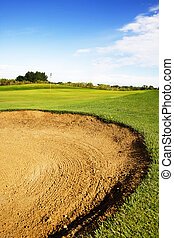 Sand Trap - A golf sand trap on a beautiful summer day