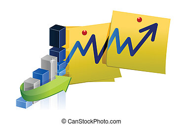 blue business graph and post illustration design over white