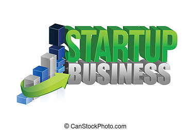 startup business graph sign illustration design over white
