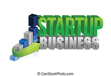 startup business graph sign illustration design over white
