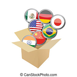 box full of flags. illustration design over a white...