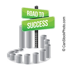 road to success sign graph sign illustration