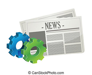 industrial gear newspaper concept illustration design over...