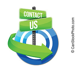 contact us target road sign illustration design over a white...
