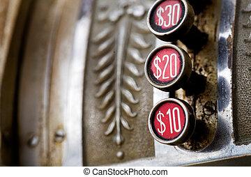 Vintage Cash Register - A detail of a vintage dirty cash...