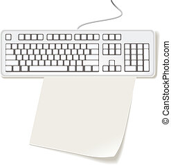 A4 paper and computer keyboard - Blank paper under Computer...