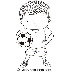illustration of a cute boy is holding a football ball...