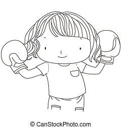 illustration of a cute girl with red boxing gloves.black &...
