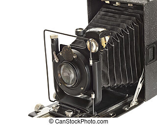 vintage photographic camera isolated on white background