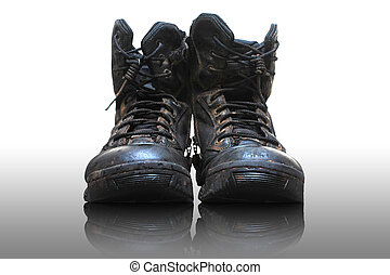 Old and dirty military boots