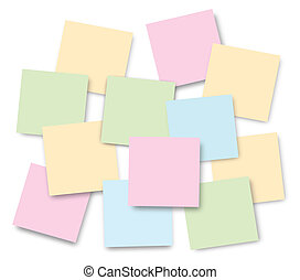 Post-it Notes - bright post-it notes on Isolated background
