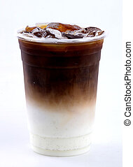 iced latte on white background