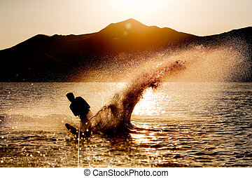 agua, esquí, silueta