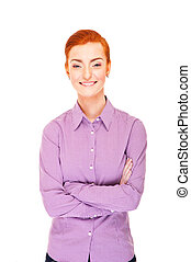 Woman over white background with red hair