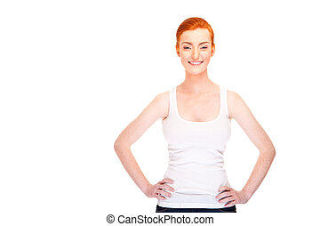 Woman with red hair in tank top over white background