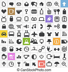 Pixel web icons collection - Business, travel, miscellanous,...
