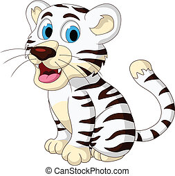 cute baby white tiger posing - vector illustration of cute...