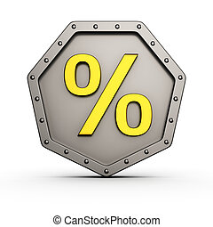 Percent armored icon - Metal armored icon with rivets and...