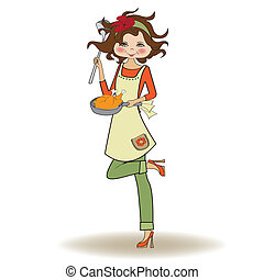 woman cooking, illustration in vector