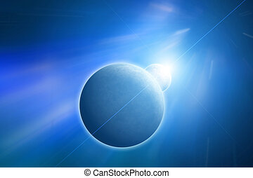 Planet with Moon on Blue Nebula