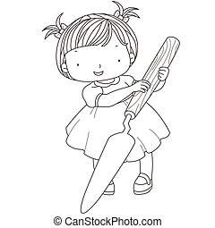 coloring illustration of a girl with palette knife.