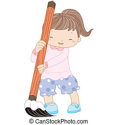 illustration of a girl with writing brush.
