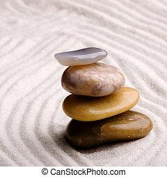 Zen Rock Garden - A tower of stones in a zen rock garden