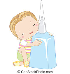 illustration of a boy with correction fluid.