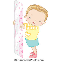 illustration of a girl with ruler