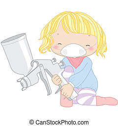 illustration of a girl with spray gun.