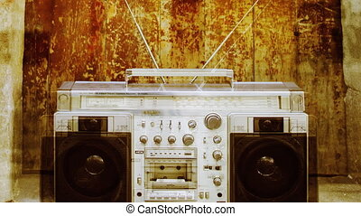 stopmotion of a retro stereo ghettoblaster in different...