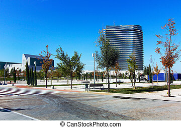 ZARAGOZA, SPAIN OCT 5: Modern building with glass architecture on October 5 2012, Water Tower, symbol of the Universal Exhibition in Zaragoza 2008.