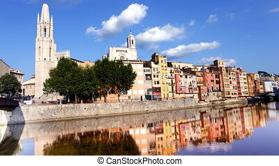 timelapse of the church and old town of girona, spain
