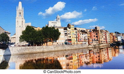 reflection in water of the church and old town of girona,...