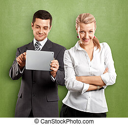 Business Woman and Man - Business team, woman with folded...