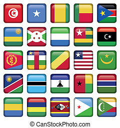 Africa Flags Square Buttons, Zip includes 300 dpi JPG,...
