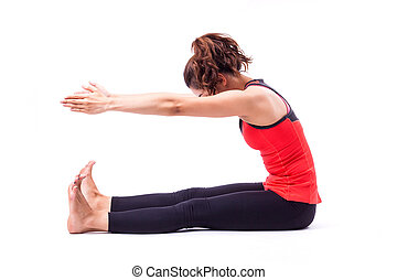 pilates action - woman in pilates action isolated