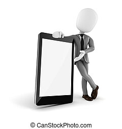 3d man and mobile smartphone with blank display