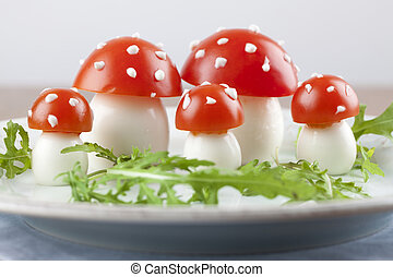 Tomato and egg fly agaric mushrooms - Fly agaric mushrooms...