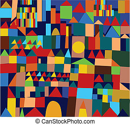 Town seamless pattern funny design