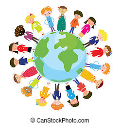 Children on the globe international funny cartoon